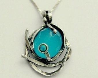 Blue quartz Pendant, blue opal necklace, blue necklace, small pendant, sterling silver necklace, gemstone pendant - You caught me N8916-1