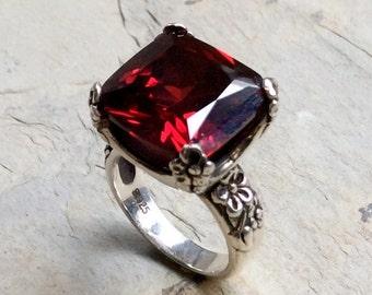 Cushion cut gemstone ring, alternative engagement ring, red stone ring, garnet ring, Floral Ring, statement ring - Hello spring R2272-1