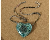 Roller Derby Bearing Necklace - hand cast heart shaped pendant