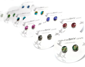Photo Stud Earrings (single pair) sterling silver & photography