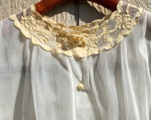 Vintage Ladies Sheer Ivory Lace Collar Pearl Button Peek A Boo Blouse L 70s 1970s Throwback to the 30s 1930s