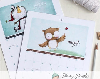 2017 Calendar -  Stacey Yacula - paper goods - illustrations - bunny - fox - bird - bear - snowmen - fairies - pixies -pig - penguin