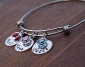 Hand Stamped Mother Grandmother Personalized Adjustable Bangle Bracelet - Hand Stamped Name Discs - Swarovski Crystal Drops - Mothers Gift