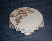 Victorian Porcelain Trivet Teapot Rest flowers floral white china pedestal base vintage cottage chic table