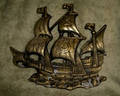 Antique Metal Boat Ship Nautical Decor Sign Interior Wall Exterior Garden Rustic Crusty