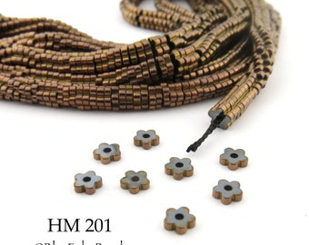 3mm Tiny Shiny Rose Gold Hematite Flower Heishi Beads Small 3mm x 1mm Full Strand (HM 201) BlueEchoBeads