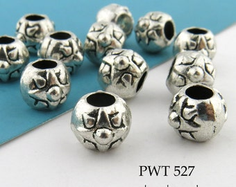 8mm Round Large Hole Pewter Beads with Star, Antiqued Silver (PWT 527) 12 pcs BlueEchoBeads