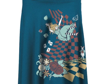 Alice in Wonderland Skirt, Rayon Flowy Skirt, Down the Rabbit Hole, Yoga, Gift for Her