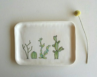 Ceramic tray with cactus and succulent design, serving platter with cactus design, green and white platter, desert cactus home decor