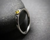 Untreated yellow rose cut diamond ring bezel set in 18k yellow gold and sterling silver