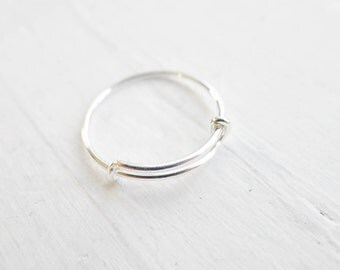 Sterling Silver Adjustable Ring Add a Charm Expandable Size 6 7 8 Charm Rings (RR615352)