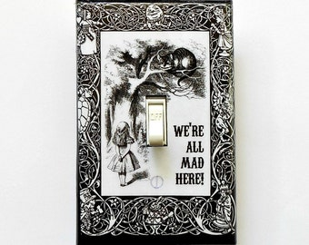 Alice bordered designs with MATCHING SCREWS- Alice switchplate covers Alice in Wonderland walll decoration Alice posters Alice vintage book
