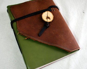 Large Bright Green and Brown Leather Journal with Recycled Paper