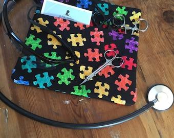 Autism Awareness RN Scrub Pocket Organizer Tool Hip Pouch With Pockets