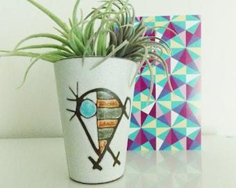 vintage 1950s Danish modern abstract vase/ mid century planter/ Dutch modernist ceramic vases ravelli