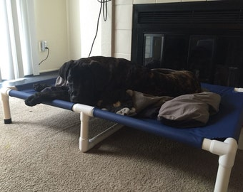 Extra Large Raised Dog Bed, Huge Pet Bed, Designer Dog Bed With Middle Support, Choose Mesh OR Canvas Cover 38x55 Dogs Up To 160 Pounds.