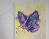 The Violet Butterfly original watercolor painting card 5x7