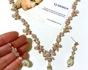 Rose Gold Bridal Jewelry Set, Vines Bridal Necklace, Leaf Bridal Earrings, Pearl Wedding Earrings, Cz Wedding Necklace, Woodland JUWELEN Set