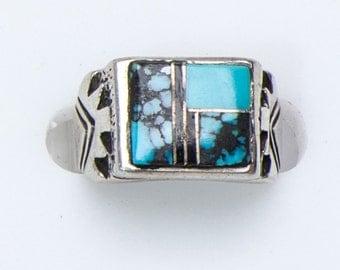 Navajo Inlay Ring - Modern Cast - sz 5