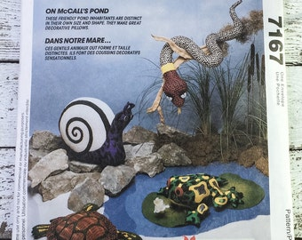 McCalls 611  7167 Pond Life Turtle Frog Snail Snake Sewing Pattern UNCUT