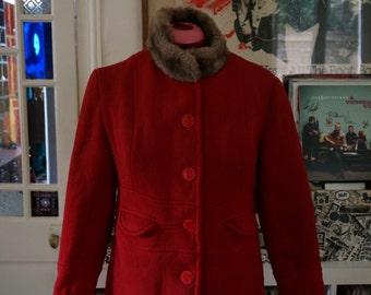 vintage 60s 70s handmade red woolen coat faux fur collar 1960s 1970s