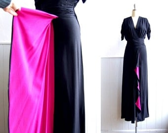 1930s Black Rayon Dress with Fuchsia Flare // Cascade Drape // Long Evening Gown