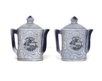 Vintage Virginia  Salt Pepper Shakers, Teapot Shakers, Souvenir Shakers, Kitschy Souvenir, Salt Pepper Shakers, Vintage Teapot