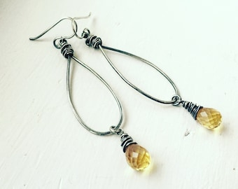 Long Hammered Teardrop Hoops with Lemon Quartz Briolettes