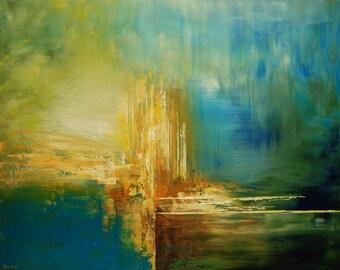 "Abstract Painting Palette Knife Original Wall Art Home Decor blue yellow - 24""x30"" - by Tatiana Iliina - Free Shipping"