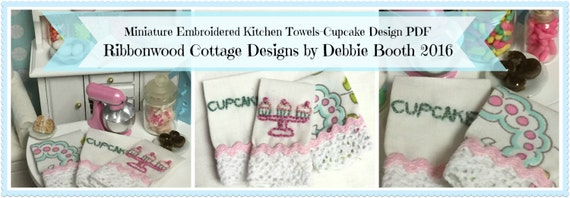PDF Miniature Embroidery Designs-PDF Miniature Embroidered Kitchen Towels Pattern-Cupcake Design Dollhouse Scale