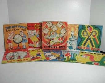 Activity Book Box Set & Quiz Kids 4 Book Set, Antique Childrens Books Saalfield ca: 1930s