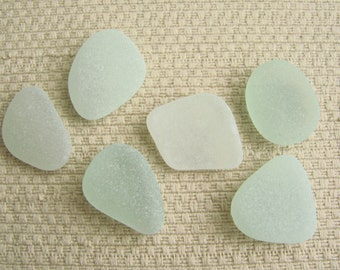 6 Pendant Size Sea Glass Gems (SG1922) Pastel sea foam blue green, Mediterranean Sea Glass, Blue Green Beach Glass