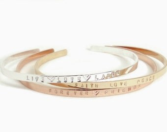 Live Love Laugh, Sterling Message Cuff, Stamped Skinny Cuff, Dainty Stacking Bracelet, Engraved Bracelet, Inspirational Gift, Gift for her