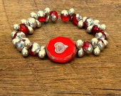 Red Rustic Heart & Ruby Red and Silver Czech Glass Stretch Bracelet Valentine's Day romantic romance love glitz
