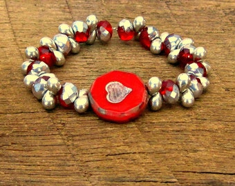Red Rustic Heart & Ruby Red and Silver Czech Glass Stretch Bracelet Valentines Day romantic romance love glitz