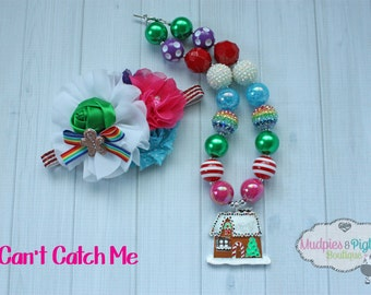 Christmas chunky necklace or baby headband set { Can't Catch Me } Gingerbread Man House, Rainbow, Snow Santa, Holiday photography prop