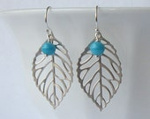 Turquoise Silver Leaf Dangle Earrings Eco Friendly Jewelry Valentine