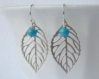 Turquoise Leaf Dangle Earrings Eco Friendly Jewelry  Recycled Earrings by Perini, Upcycled Jewelry