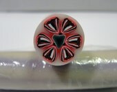 Polymer Clay Red and Grey Flower Cane