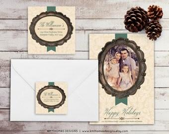 Vintage Frame Return Address Label: Square Label - Holiday Return Address Label - Green Christmas Label - Return Address Sticker - WH144