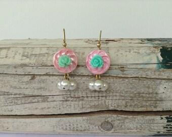 Pink Button Asymmetrical Earrings