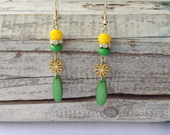 Yellow and Green Daisy Drop Earrings