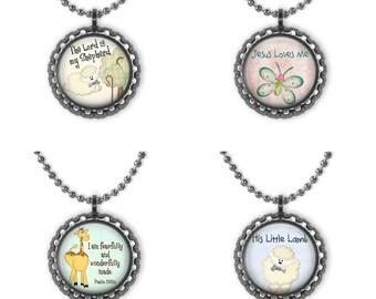 Jesus Loves Me Kids Necklace, Inspirational Bible Verses Glass Pendant, Quotes Necklace, Verses Pendant,Kids Pendant,