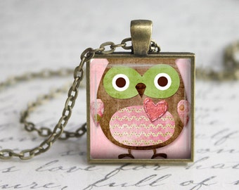 Whimsical Pink Owl Pendant,Owl Jewelry Necklace , Owl Charm