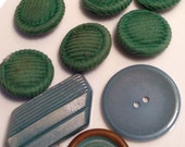 9 Vintage green and aqua Sewing Buttons