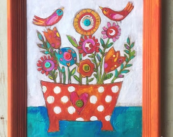 Folk Art Framed Floral Encaustic Painting