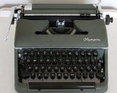 Vintage Olive Green OLYMPIA TYPEWRITER- Made in Germany- Clean Machine- Retro Office Decor