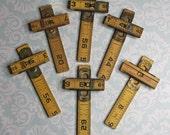 Wooden RULER CROSSES- for Jewelry- Artwork- Repurposed Art Supply- Vintage Yellow Ruler