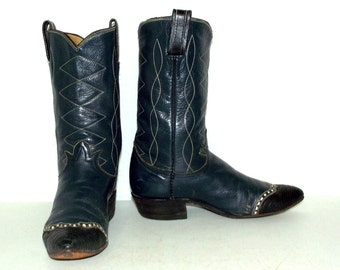 Vintage Tony Lama Womens Cowboy boots blue size 7 cowgirl lizard exotic