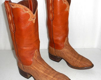 Exotic Loveless Tan Cowboy Boots Mens size 8.5 / Womens 10 Indie Cowgirl Western Boho Hippie